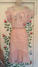 Karen Millen Cotton broderie anglaise Peach Fishtail Fluted Hem Skirt Sz.12, 10
