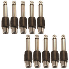"Zócalo de Phono RCA único a 6.35mm Mono Jack Plug Convertidor Adaptador 1/4"" X 10"