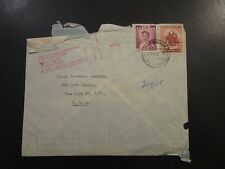 Thailand 1955 Airmail Cover to Usa / Fold / Edge Damage - Z6069