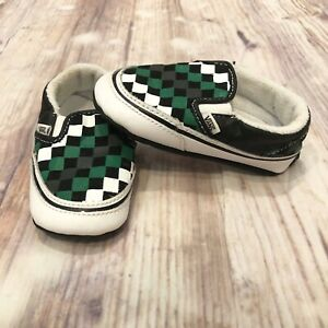 Vans Off The Wall Slip-Ons Checkered Black Green Boy Girl Shoes Toddler Size 4