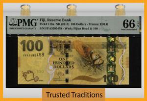 TT PK 119a ND (2013) FIJI 100 DOLLARS QUEEN ELIZABETH II PMG 66 EPQ GEM UNC!