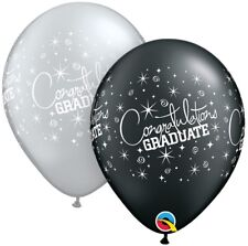 Congratulations Graduate Assorted Pearl Onyx Black and Silver Printed Latex Balloons by Qualatex Pack of 5