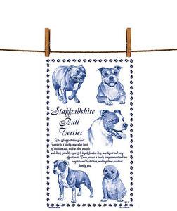 BN Staffordshire Bull Terrier White Cotton Tea Towel, Staffy Tea Towel, British
