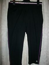 Black Crop Sports Trousers Size 12 NEW LOOK