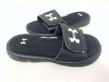 NEW! Under Armour Youth Boy's Ignite V Comfort Slides Black/White #1287320-001 z