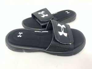 NEW! Under Armour Youth Boy's Ignite V Comfort Slides Black/White #1287320-001 z
