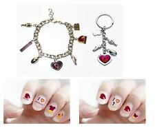 SET OF 3 BRISBANE BRONCOS NRL CHARM BRACELET + CHARM KEYRING + NAIL DECAL GIRLY