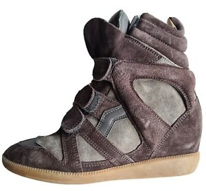 Isabel Marant Anthracite Bekett Wedge Sneakers Size 36 Leather Suede