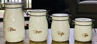 Vintage 4 Pc Wheaton Milk White Glass Canister Set & Glass Tops & Bail Wire EUC