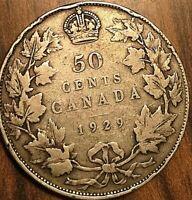 1929 CANADA SILVER 50 CENTS COIN