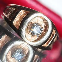 14k yellow gold ring 0.25ct diamond solitaire sz 6.5 vintage handmade 7.6g N2539