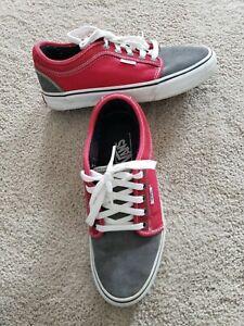 Vans Men's Size 8 Euro 40.5 Skateboarding Tennis Shoes Sneakers Red Gray Suede