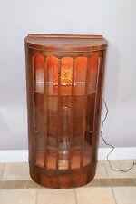 Antique Half Round Display Curio China Cabinet Original Wavy Glass Glass shelf
