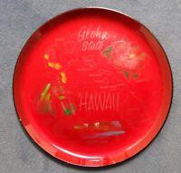 Vintage 1950 era Hawaiian Aloha State RedLacquered Tiki Bar Plate Hawaii