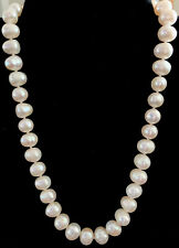 """Vintage White Lustrous Akoya Pearls Necklace Choker Sterling Silver 925 17"""" Inch"""