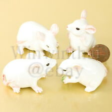 4 WHITE MOUSE RAT MICE CERAMIC STATUE POTTERY MINIATURE ANIMAL FIGURINE