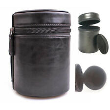 Universal Camera Lens Case Bag Cover Hard PU Leather with Zipper 3 Sizes Colors
