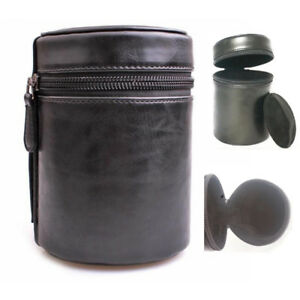 Camera Lens Tube Case Bag Cover Hard PU Leather with Zipper 3 Sizes for Option
