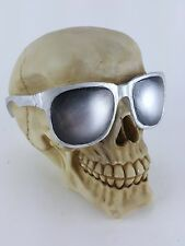 Collectible SKULL WITH GLASSES Handpainted Resin Statue COOL SHADES SKULLS