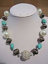 White Faux Pearl Turquoise Stone Bead Clear Crystal Pave Bead Necklace