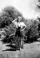 Vintage 1930's Photo Negative of Pretty Girl Saluting Wearing Shorts Jumper Cap