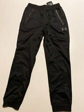 NWT Under Armour Boy's 7 Black Gray Piped Joggers Sweatpants Zip Pockets