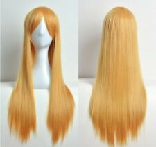 80CM Long Straight Cosplay Natural Wig Synthetic Anime Multicolor Full Wigs