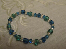 Blue Green & Clear Small Glass Bead Elasticated Bracelet