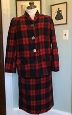 Rockabilly 50s 60s Pendleton Red Plaid Vtg Bat Wing Collar Suit Pencil Skirt S