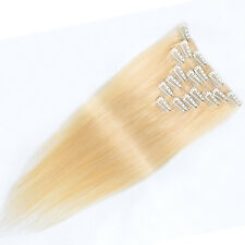 "Full Head 26"" Remy Human Hair Clip In Extensions Straight #613 Light Blonde 105g"