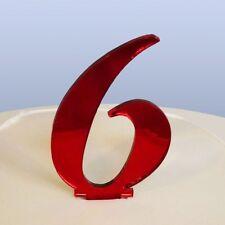 Numero 6 Scritto Rosso Acrilico Specchio topper per torta (Circa 6cm-4cm chiodi)