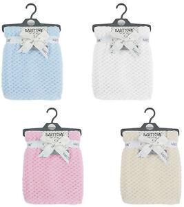 Baby Boys Girls Waffle Fleece Knitted Blanket Cot Pram Blanket Wrap Comforter