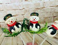 3 vtg snowman floral picks Christmas decoration retro soft plastic