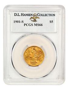 1901-S $5 PCGS MS66 ex: D.L. Hansen - Liberty Half Eagle - Gold Coin