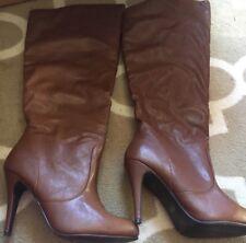 JustFab Brown Knee High Heeled Boots