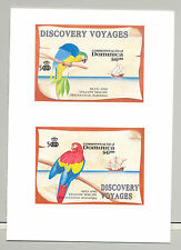 Dominica 1991 Columbus, Macaws, Parrots, Ships 2v. s/s imperf proofs