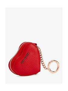 New Authentic Ted Baker London Kahi Red Leather Heart Coin Purse keyRing