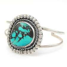 Great Navajo Handmade Sterling Silver & Turquoise Cuff Bracelet  | G E