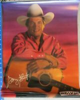 """BUD LIGHT Beer GEORGE STRAIGHT guitar country music NOS vintage poster 20""""x16"""""""