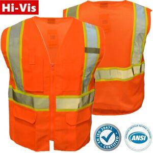 High Visibility Safety Work Hi Vis ANSI Class 2 Reflective Tape Vest Neon Orange