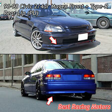 Mu-gen Style Front + TR Style Rear Bumper Lip (Urethane) Fit 96-98 Civic 4dr