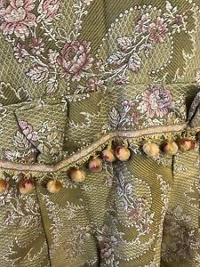 "Antique French Chateau Brocade Fabric c1880s Passmentarie timeworn 80""/50"" Plus"