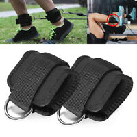 2x Fitness Exercise Gym Weight Lifting D Ring Ankle Strap Cable Attachment Strap
