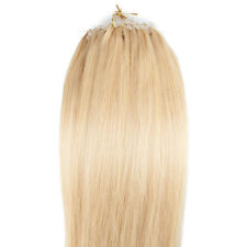 "24"" Loop Micro Ring Beads Tipped Remy Real Human Hair Extensions Bleach Blonde"