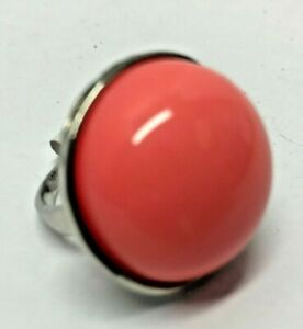 LARGE STONE Smooth Pink Rhodonite Size 9 US or 19 Euro Ring NEW