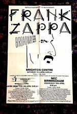 1988 FRANK ZAPPA FINAL TOUR BROADWAY THE HARD WAY ORIGINAL 4 UK CONCERTS POSTER
