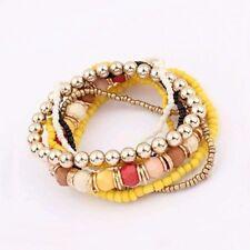 Wickelarmband NEU Gummi Damen Gelb Weiss Schwarz Gold Perlen Elastisch Shamballa