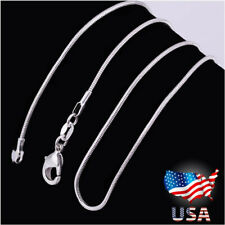 """Lot 10Pcs Wholesale 925 Sterling Solid Silver 1mm Snake Chain Necklace 16-30"""" U7"""