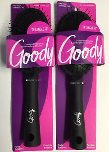 """""""2 Pk"""" Goody """"Detangle It"""" Flexible Ball Tipped Bristles (Oval Brushes) Ouchless"""