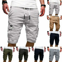 Men Tactical Cargo Shorts Outdoor Work Half Pants Elastic Waist Drawstring Long